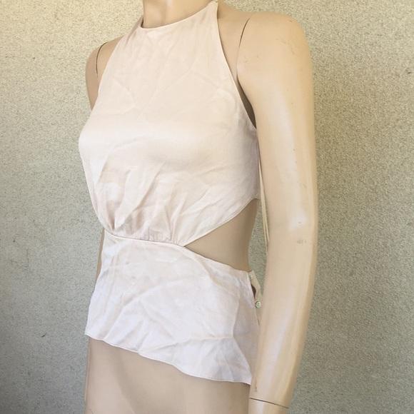d75f04ad12e0 Zara Blush Nude Pink Open Back Satin Halter Top S